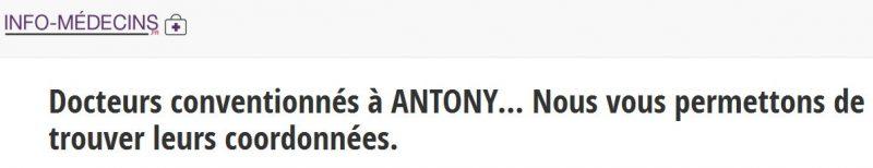 Rendez-vous sur Info-medecins.fr pour accéder aux coordonnées des médecins généralistes à Antony, en Hauts-de-Seine